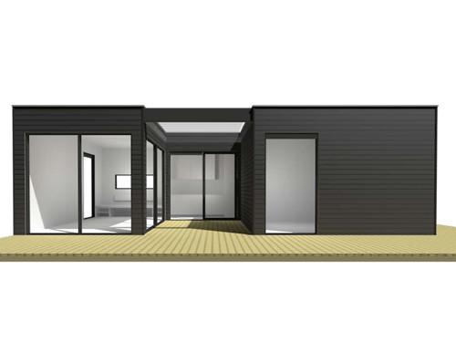 De bungalow vanuit het terras