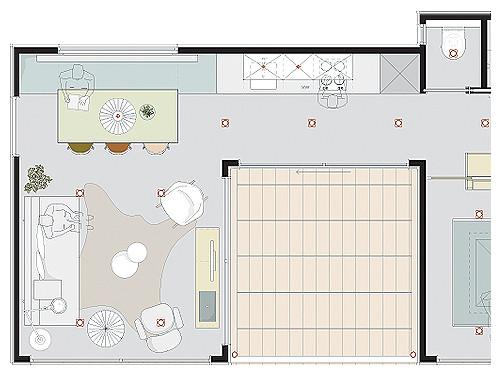 DR4 Detail woonkamer en keuken